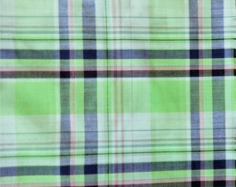 "Bright Green Plaid Cotton Blend Yardage 45"" wide BTY By the Yard"