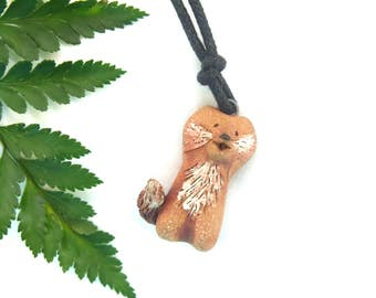 Pottery Fox Pendant, Miniature Ceramic Fox Lover Gift Necklace, Handmade Animal Totem Focal Jewelry Supply, USA Artisan Made Woodland Theme