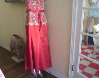 Vintage Gold Lace Pearl Gown / Empire Gown Burnt Orange Copper Gown Stunning!