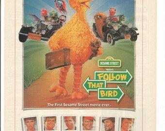 1984 Advertisement Follow That Bird Sesame Street Big Bird John Candy Chevy Chase Waylon Jennings Kid's Children's Movie Wall Art Decor