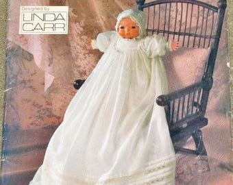 "Vintage 1980s Linda Carr Craft Sewing Pattern Vogue 9176, Christening Gown, Bonnet, 16"" Bye Lo Type Baby Doll Clothes, Uncut Factory Folds"