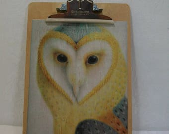 Owl Clipboard / Vintage Print Clipboard / School or Office Clipboard / Vintage Photo Art