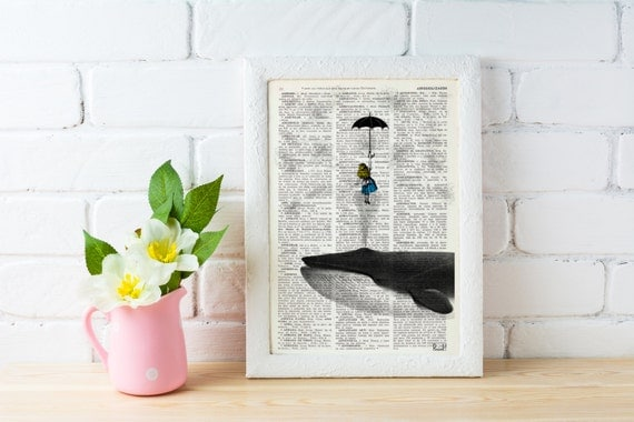 Decorative art Alice in the Sky with Umbrella (and Whale) Dictionary art, girls room decor, wall hanging, Alice gift BPAW026