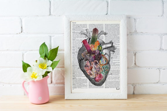 Summer Sale Human heart, Minerals and stones heart. Anatomy art dictionary page Love gift Anatomy art, love wall human SKA116