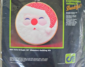 "Kris Kringle 10"" Diameter Quilting Kit 4821, Unopened Kit, by Creative Expressions, Vintage 1983"