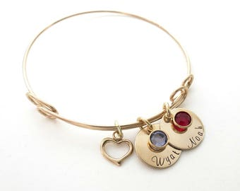 Personalized Gold Bracelet with Heart Charm - Birthstone Bangle - Mothers Bracelet - Grandma - Kids Names - Personalized Jewelry - Engraved