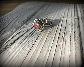 Ruby Fuschite Sterling Silver Ring - Sz. 8.5