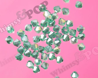 50 - Clover Green AB Brilliant Glass Bicone Spacer Beads, Bicone Beads, 4mm Spacer Beads, 4mm Glass Beads (5-4D)