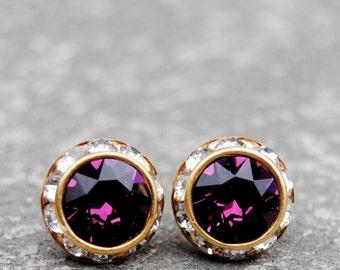 Amethyst Purple Diamond Rhinestone Stud Earrings Vintage Swarovski Crystal Purple Post Dangle Earrings Mashugana