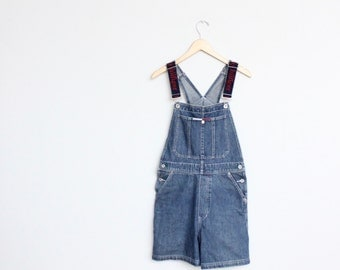 Tommy Hilfiger Denim Overalls Small Womens Vintage Blue Jeans Shorts 90s 1990s Hip Hop