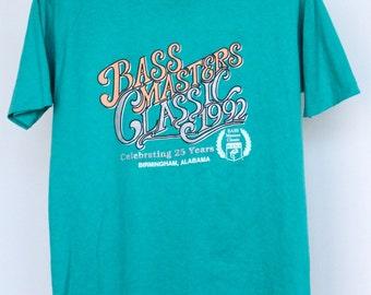 Vintage Bass Masters Classic 1992 Fishing T Shirt Mens Medium Unisex Womens Fisherman Angler Angling Bassmasters Birmingham Alabama AL