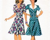 1970s Top and Skirt Pattern Style 1038 Vintage Sewing Pattern 1940s Style Fitted Peplum Blouse & Flared Knee Length Skirt Bust 34 Waist 26.5