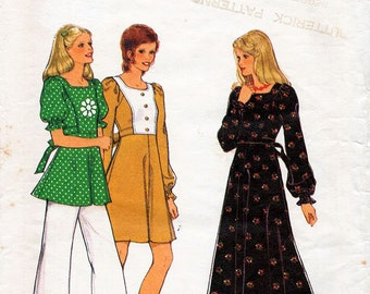 1970s Flared Boho Dress or Top Pattern Style 4529 Vintage Sewing Pattern Maxi or Above Knee Dress or Tunic Bust 32.5 Petites