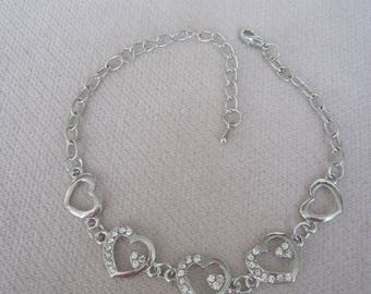 """Open Silver Hearts with Crystals 7"""" Anklet or Bracelet with a  2"""" Extender"""