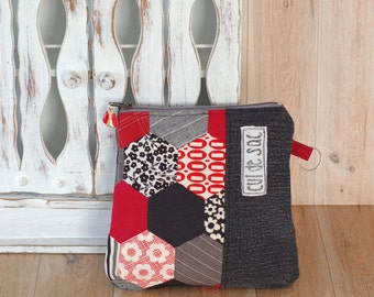 Eco friendly  recycled cosmetic case  pencil case zipper pouch, hexagon patchwork,  hexies black red denim folk, upcycled reclaimed