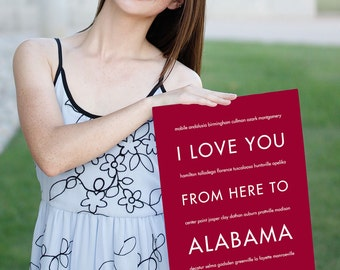 Alabama Crimson Tide Gift, Travel Art Print, I Love You From Here To ALABAMA, Shown in Dark Red, Free U.S. Shipping