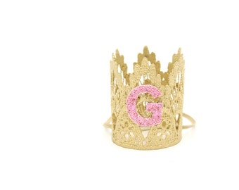 Small breed pet crown with glitter initial || gold + pink