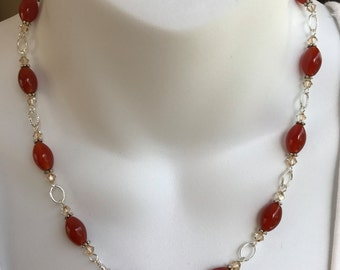 Red gemstone necklace and earring set
