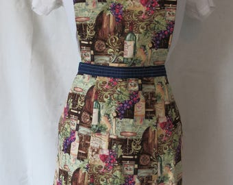 Wine Fabric Apron / Wine Bottle / Sweetheart Full Front Adult Apron / Grape Apron / Pink and Purple