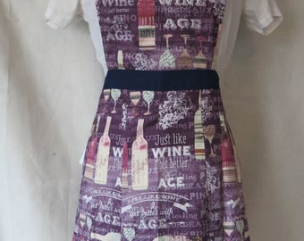 Just Like Wine I Get Better With Age Apron / Wine Apron / Sweetheart Full Front Adult Apron / Wine Bottle / Wine Glass
