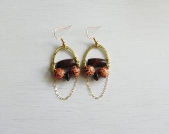 Ixcuiname Earrings // Hammered Brass + Natural Seeds & Beads + 18k gold filled hooks