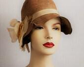 Vintage 1920s jazz age flapper cloche hat - 20s art deco natural fiber summer garden sun hat
