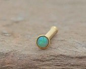 18g Gold Nose Ring Green Opal Tiny Nose Stud