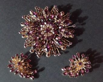 Huge Purple Rhinestone Brooch and Earrings Set