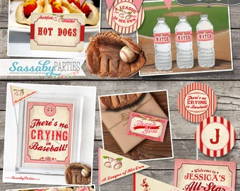 Vintage Girls Baseball Baby Shower Collection / INSTANT DOWNLOAD / Editable & Printable Rockford Peaches Party Decor, A League of Her Own