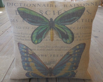 French Butterfly Burlap Pillow, French Country, Rustic Farmhouse, INSERT INCLUDED