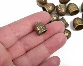5 Bronze Tone Hammered Textured End Caps for Kumihimo Jewelry, Leather Cord End Connectors, ...