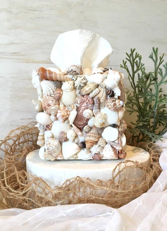 Beach bathroom decor shell tissue box cover seashell - Beach themed tissue box cover ...