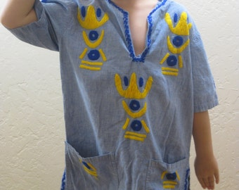 Embroidered Shirt, Vintage Tunic, Embroidered Tunic, Small Vintage, Tunic with Pockets, Ethnic Designs, African Inspired, Chambray Tunic