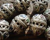 Enamel Moroccan tarnished ornate large barrel bead
