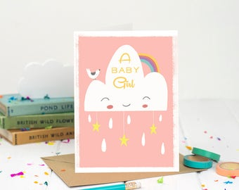 A Baby Girl Card - Birth Announcement Card - Baby Girl Card - Welcome Baby Card - Baby Shower - Congratulations - New Baby