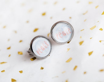 Peace Stud Earrings, Peace, Stud Earrings, Inspirational Jewelry, Peace Sign Jewelry, Hippie, Stud Earrings, beesandbuttercups
