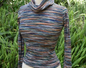 Space Dye 1970s Sweater Earth Tone Cowl Neck Hippie Boho Sweater