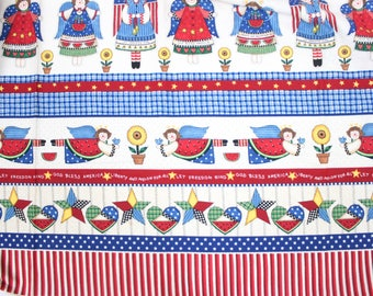 Daisy Kingdom Liberty and Melon For All Fabric . Cute Americana Patriotic Fabric . Out of Print . #1970 . Country American USA Flag Dolls