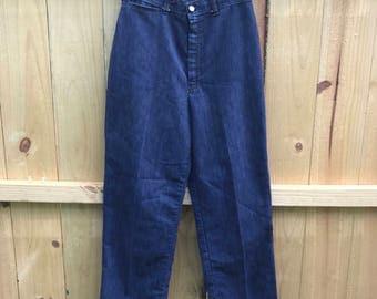 Ladies Vintage 70s High Waist Jeans Dark Wash Straight Leg Jeans 70s Boho Size 10