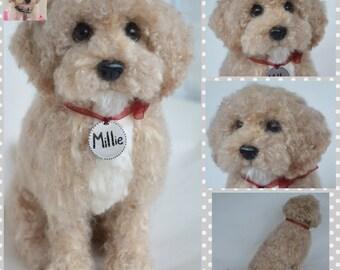 Custom Goldendoodle Artist Needle Felted Dog Sculpture Memory pet Portrait Sculpture of your pet Dog replica stuffed dog wool animal
