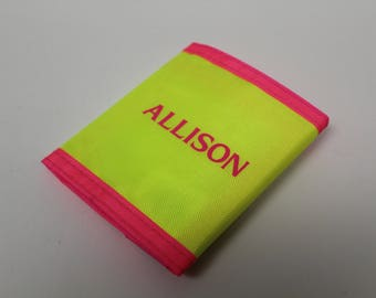 90s Velcro Wallet - Neon Yellow and Neon Pink - ALLISON - Like New