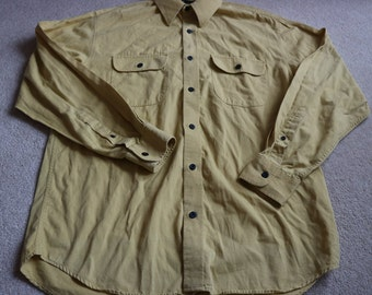 Yellow thick cotton men's long sleeve shirt 38-40 chest BHS vintage