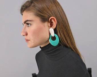 Minimalist Geometric Earrings, 80s Oversized Earrings, Contrast Earrings, Costume Jewelry, Fashion Earrings, Dangle Earrings
