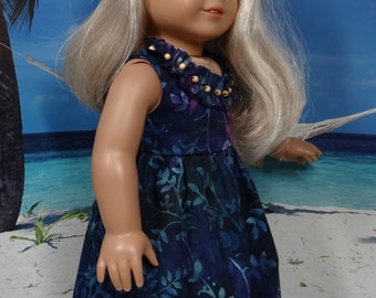 Hawaiian sundress in dark blue batik for American Girl Kanani or Lea Clark or similar 18 inch doll