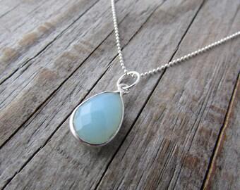 Aqua Chalcedony Necklace, silver bezel, tear drop pendant
