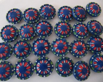 1930's plastic buttons, 30 pcs colorful blue casein domed Art Deco buttons, 17mm vintage galalith self shanking 11/16th inch quality buttons