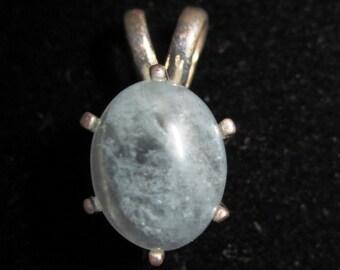 Aquamarine Pendant silver bezel 8ct