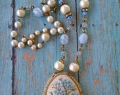 Upcycled embroidered cameo necklace,flower, vintage, victorian, repurposed, shabby chic, one of a kind necklace