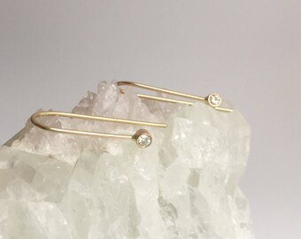 gold arc hoops with moissanites, solid 14k threader ear staple pin crawlers, minimalist, ethical white diamond earrings, Charles Clovard