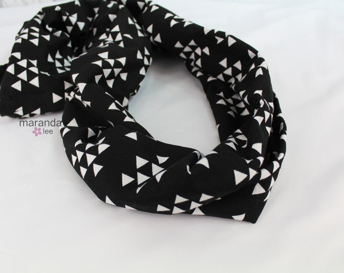 SALE Infinity Scarf - READY to SHIP - Black Triangles- Jersey Knit Cotton Scarf